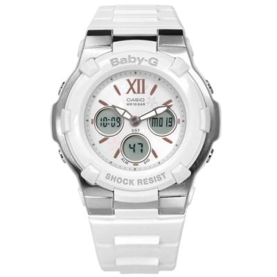 Baby-G CASIO 卡西歐甜美櫻花世界時間計時雙顯運動防水橡膠手錶-白色/40mm