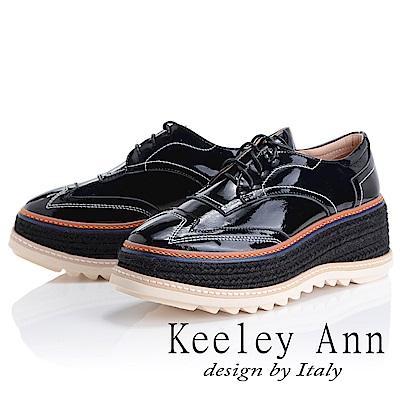 Keeley Ann 街頭漫步~厚底編織滾邊綁帶休閒鞋(黑色-Ann)