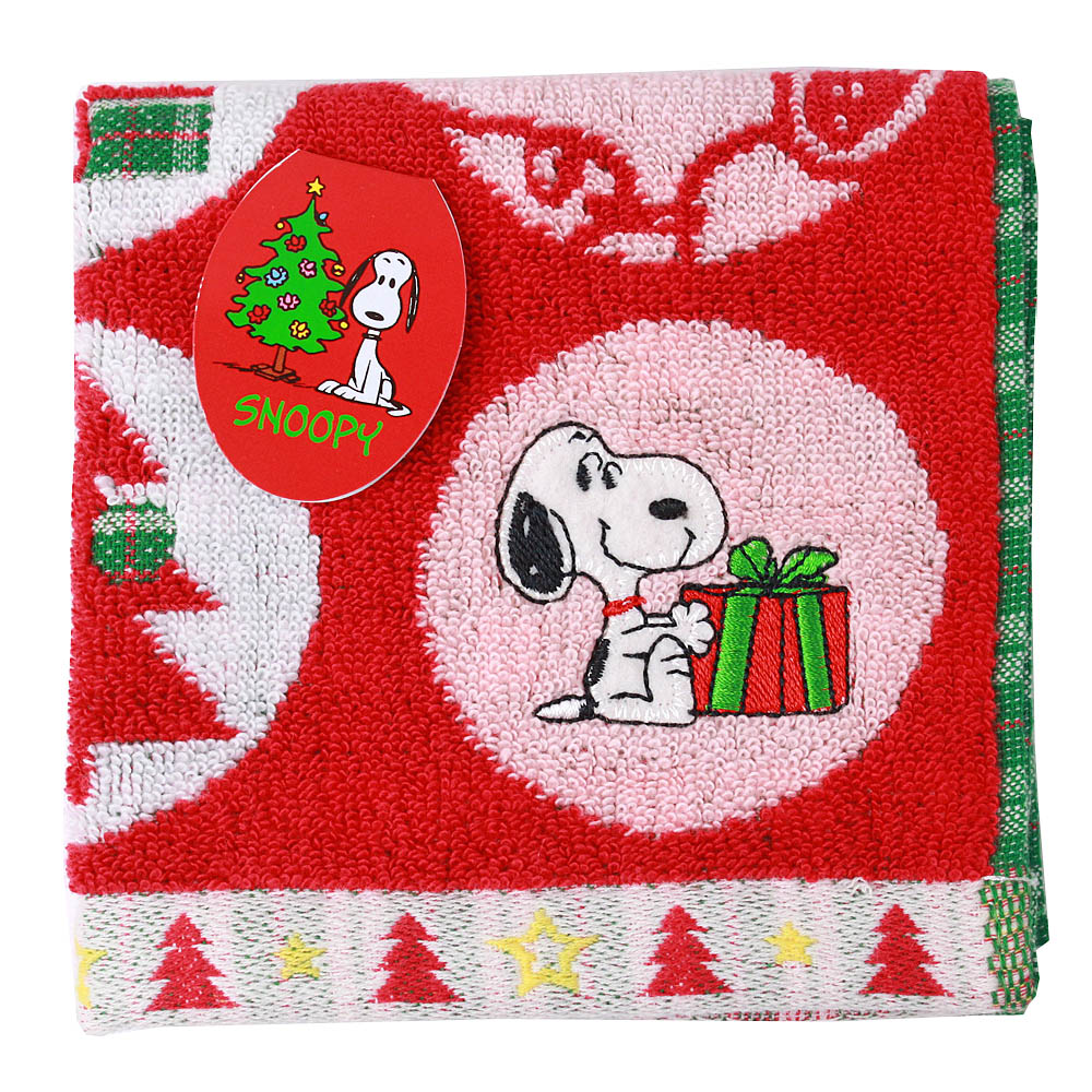 SNOOPY史努比 聖誕派對 小方巾(A款-紅色)