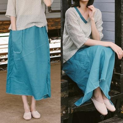 長裙-洗毛邊雀藍色不規則寬鬆棉麻-設計所在