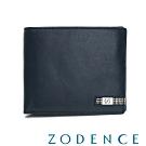 ZODENCE MAN格紋系列進口牛皮三層透明窗11卡短夾 藍