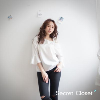 Secret Closet-荷葉蕾絲綁繩帶上衣-白色