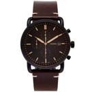FOSSIL 簡約個性風計時手錶(FS5403)-黑色面x咖啡色/42mm