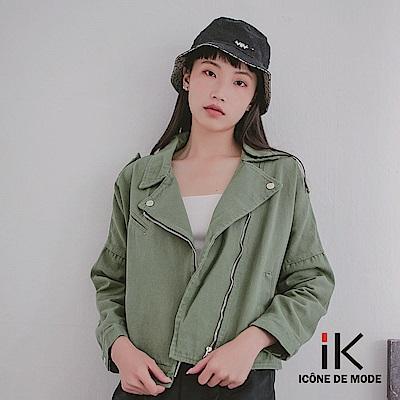 iK-純色寬鬆翻領拉鍊率性丹寧外套 軍綠