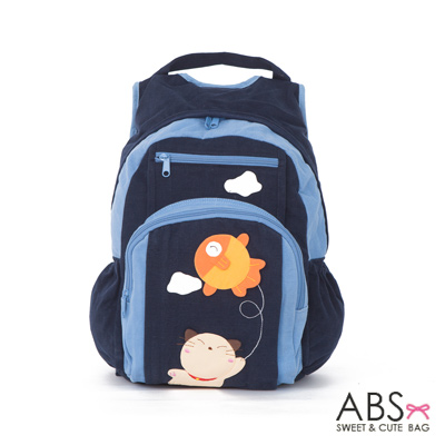 ABS貝斯貓 Fish&Cat 拼布雙肩後背包(海洋藍)88-168