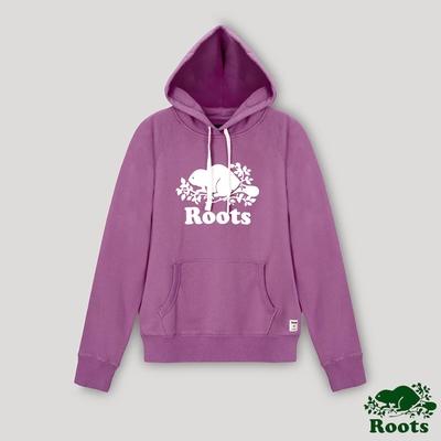 Roots女裝- 經典海狸LOGO連帽上衣-蘭花紫