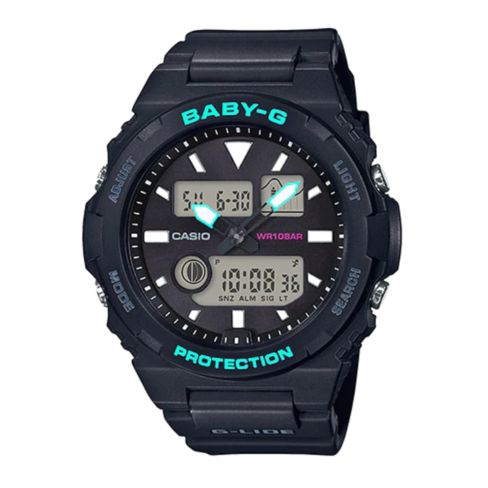 CASIO BABY-G G-LIDE系列海洋風格潮汐雙顯錶-黑X綠(BAX-100-1ADR)/42.4mm