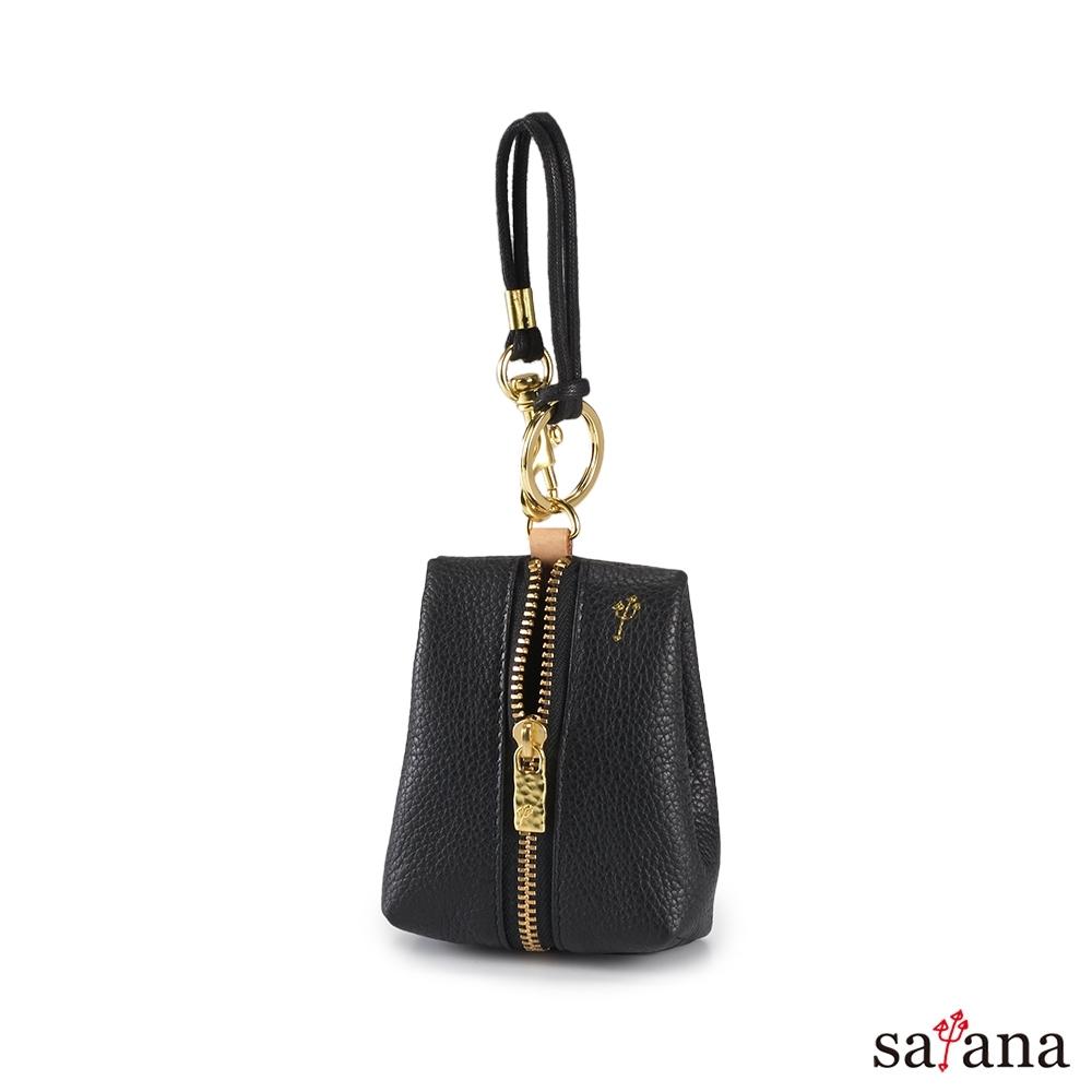 satana - Leather 驚喜鑰匙卡片包 - 黑色