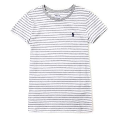 Polo Ralph Lauren 經典小馬條紋短袖T恤(女)-灰白色