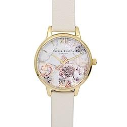 Olivia Burton 英倫復古手錶 大理石花卉紋路 米色真皮錶帶金框30mm