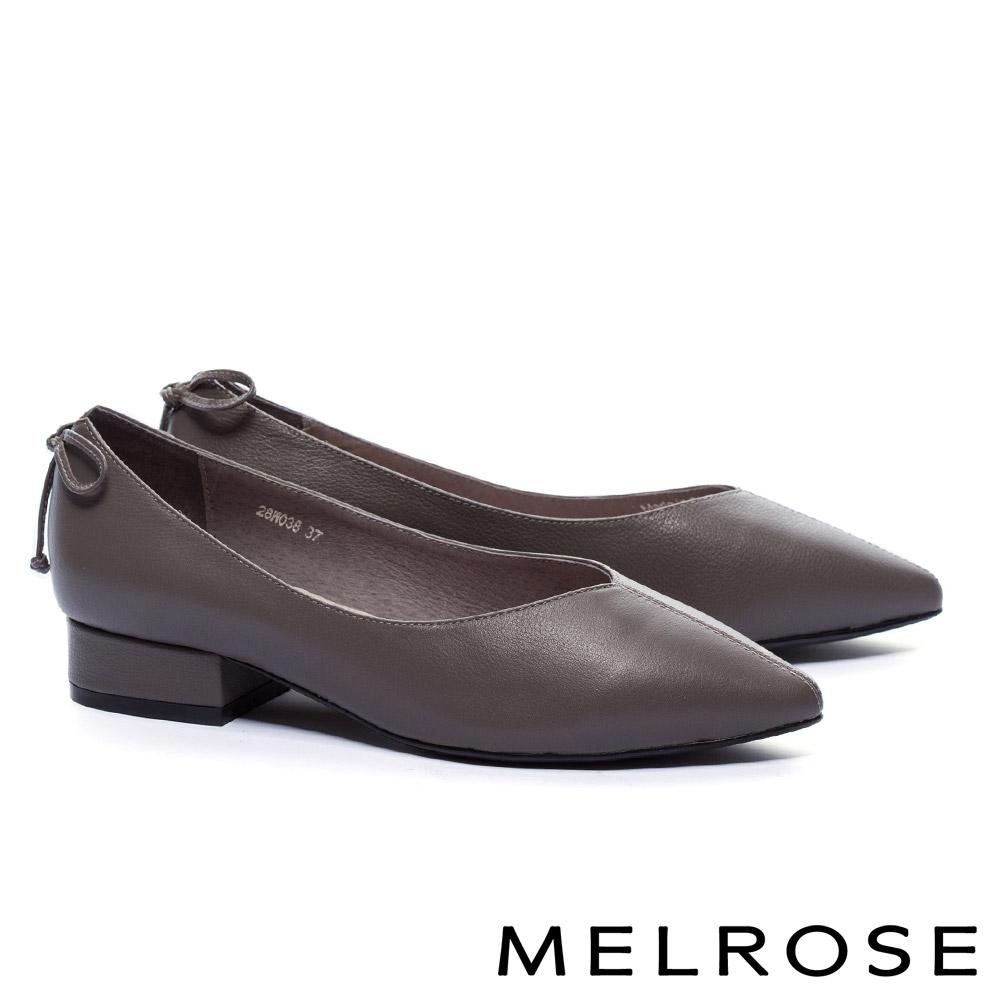 低跟鞋 MELROSE 簡約復古摔紋牛皮素面尖頭低跟鞋-灰