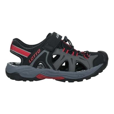 LOTTO 男冒險家護趾排水涼鞋-休閒 魔鬼氈 健走鞋 水陸鞋 反光 LT1AMS3230 黑灰紅