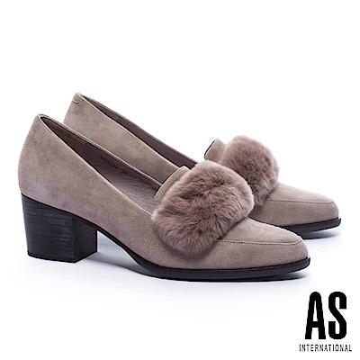 高跟鞋 AS 奢華暖意兔毛條帶羊麂皮粗跟高跟鞋-可可
