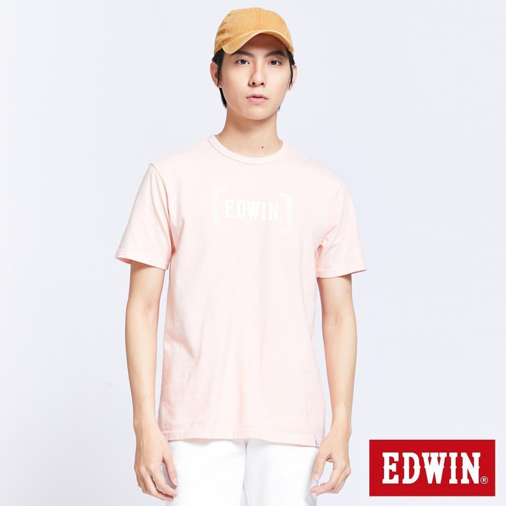 EDWIN 復古噴漆LOGO 短袖T恤-男-淡粉色