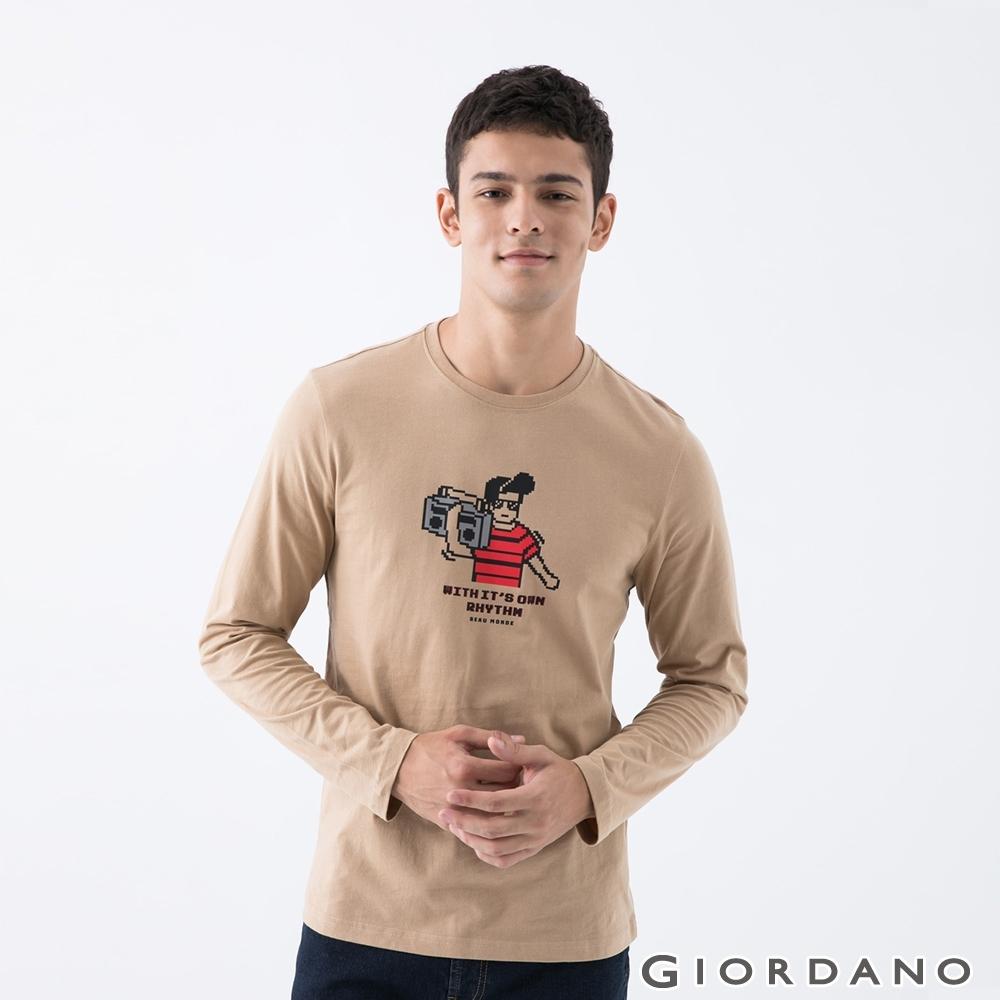 GIORDANO   男裝8Bit像素印花T恤 - 11 雲雀杏