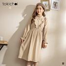 東京著衣 法式輕甜V字荷葉邊小立領絨布洋裝
