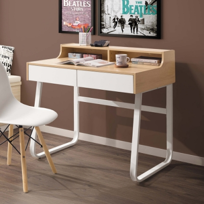 Boden-黛恩3尺二抽書桌/工作桌(白色腳座)-90x58x88cm