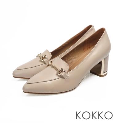 KOKKO - 經典品味尖頭牛皮鏡面粗跟-駝灰色