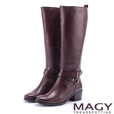 MAGY 經典騎士 簡約雙皮帶扣環長靴-咖啡