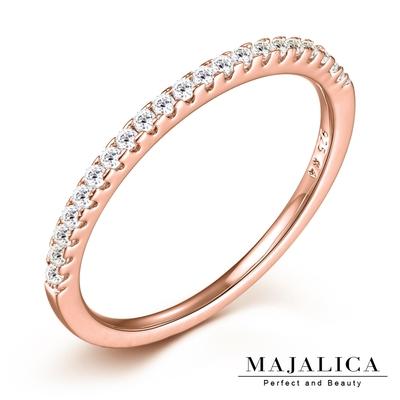 Majalica純銀戒指女戒線戒 925純銀尾戒 簡約半圈鑲鑽 玫金色 PR6052