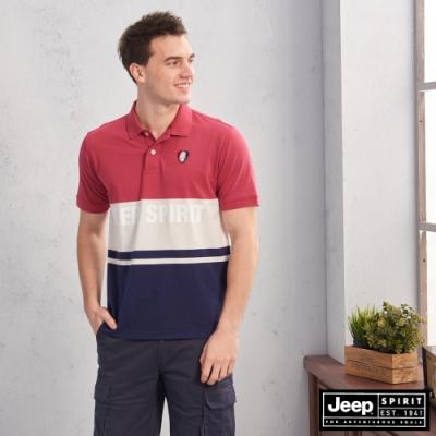 JEEP 經典LOGO拼接短袖POLO衫-紅藍