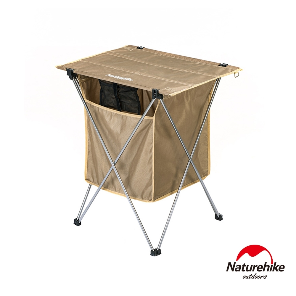 Naturehike 戶外便攜鋁合金桌面置物兩用折疊桌 附收納袋 卡其-急
