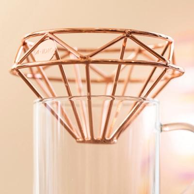 AIDIO 鑽石咖啡濾杯附絨布袋 (玫瑰金)