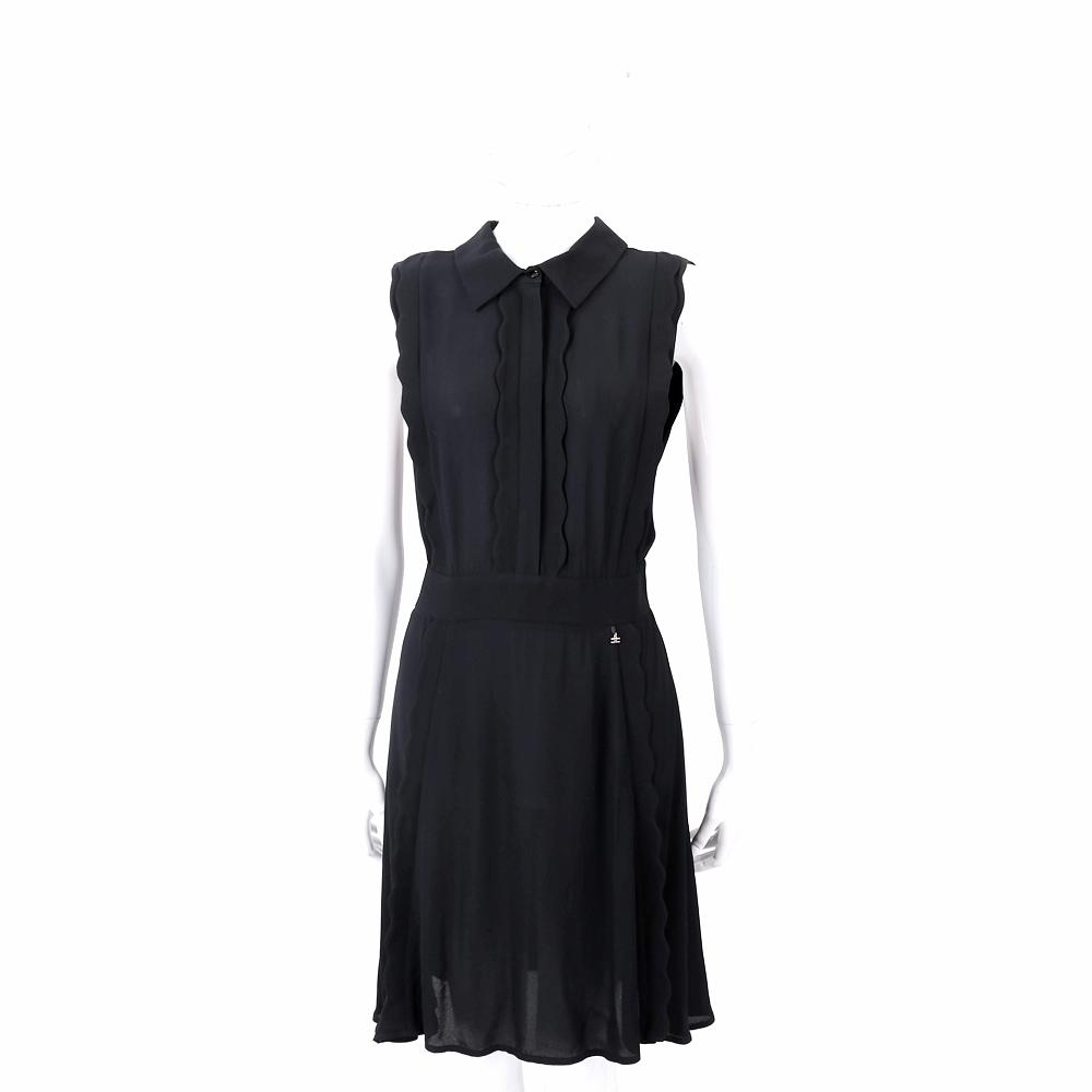 ELISABETTA FRANCHI 花瓣滾邊襯衫式黑色雪紡洋裝