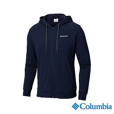 Columbia 哥倫比亞 男款-UPF50棉質連帽上衣-深藍 UAJ07050NY