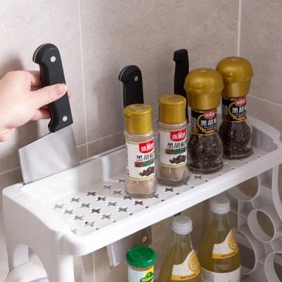 [荷生活]雙層廚房置物架 調味料收納架刀架 鏤空加大底盤設計