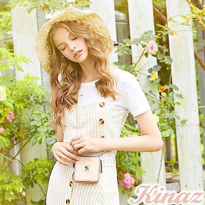 KINAZ 美好萌芽鏈帶皮夾斜背包-珊瑚粉-常春藤系列