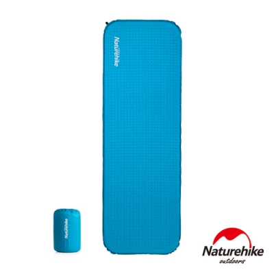 Naturehike C034輕巧便攜款 單人自動充氣睡墊 防潮墊 方形 藍色-急