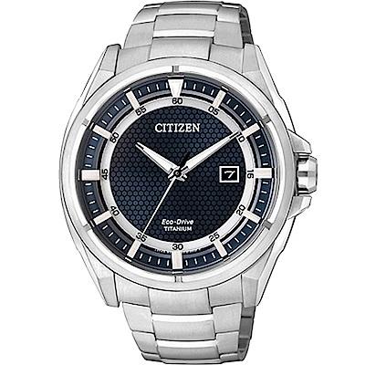 CITIZEN Eco-Drive 超級鈦光動能日期腕錶-AW1401-50L
