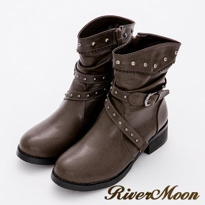 River&Moon大尺碼-復古雕花鉚釘層次扣環工程靴-卡其灰