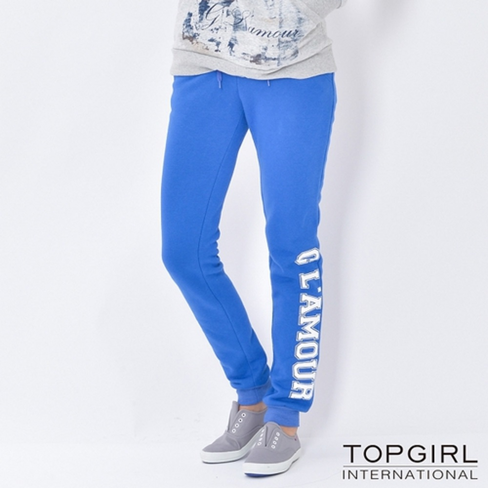 【TOP GIRL】字母印花棉針織休閒褲 - 寶藍色