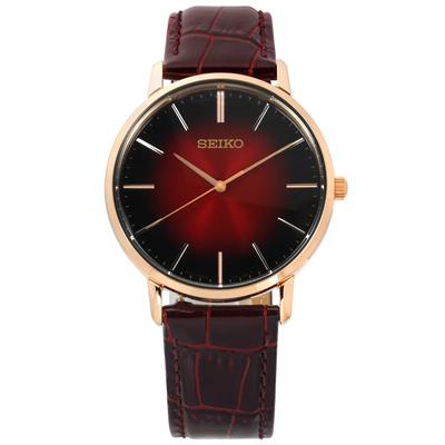 SEIKO 經典雋永 日本機芯 牛皮手錶-漸層紅x玫瑰金框x咖啡/38mm