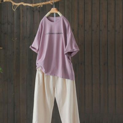 純棉字母印花圓領T恤寬鬆內搭短袖上衣-設計所在