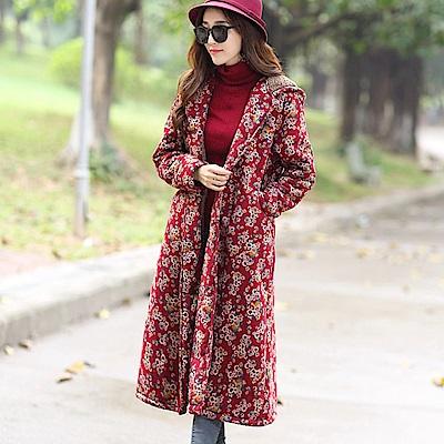 赭紅碎花棉絨保暖外套-M~XL-維拉森林