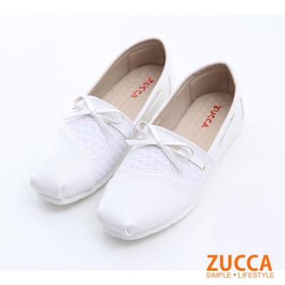ZUCCA-綁帶朵結平底懶人鞋-白-z6301we