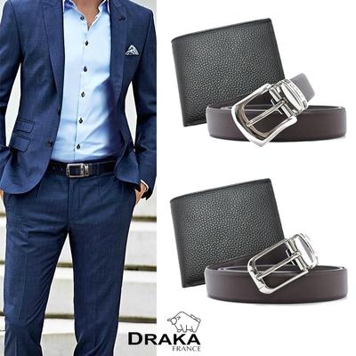 [時時樂]DRAKA達卡-牛皮短夾+ 真皮皮帶 (兩件組)