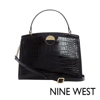 NINE WEST TATUM鱷魚壓紋圓釦鍊帶手提包-黑色(117505)