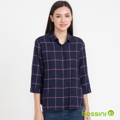 bossini女裝-格紋襯衫04海軍藍