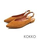 KOKKO - 微甜布朗尼純色後拉帶尖頭平底鞋-乳酪黃