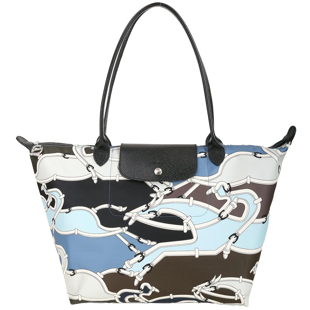 LONGCHAMP Le Pliage Galop 大型馬韁繩圖騰尼龍水餃包(機師藍) @ Y!購物