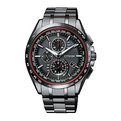 CITIZEN 電波計時光動能鈦皮帶腕錶/黑/AT8145-59E
