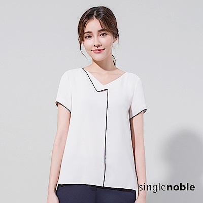獨身貴族 質感配色V領雪紡短袖上衣(2色)