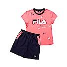 FILA KIDS 童短袖純棉針織套裝-粉色 5WTT-4915-PK