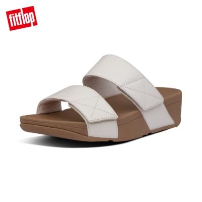 【FitFlop】MINA LEATHER SLIDES 可調式寬帶涼鞋-女(白石色)