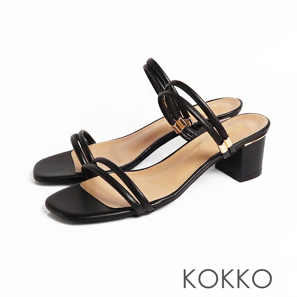 KOKKO方頭細條粗跟兩穿涼鞋顯白黑