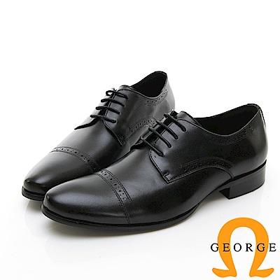 【GEORGE 喬治皮鞋】尊爵系列 拼接綁帶紳士鞋皮鞋-黑色